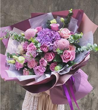 鲜花:遇见最美的你 11枝紫玫