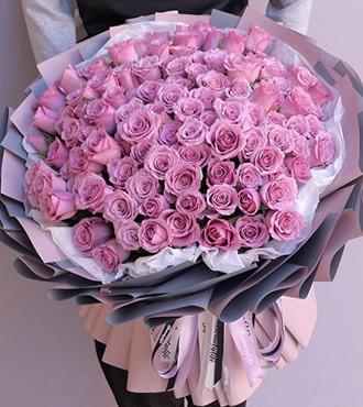 鲜花:爱情港湾 99枝紫玫瑰