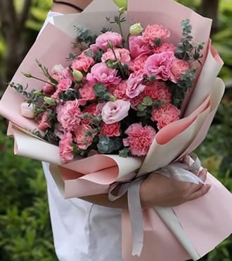 鲜花:满满幸福 19枝粉康乃馨