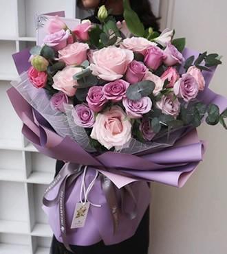 鲜花:遇见幸福 33枝紫玫瑰