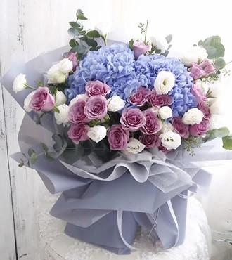 鲜花:我紫在乎你 22枝紫玫瑰
