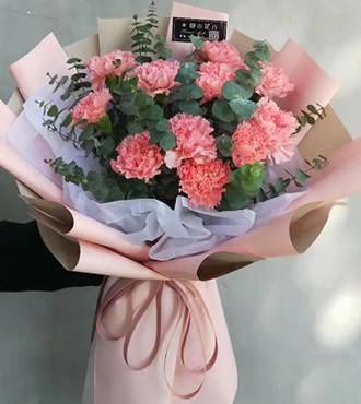 鲜花:暖暖的爱 11枝粉康乃馨