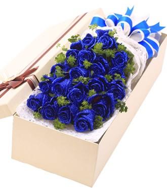 鲜花:恋恋不忘 19枝蓝玫瑰