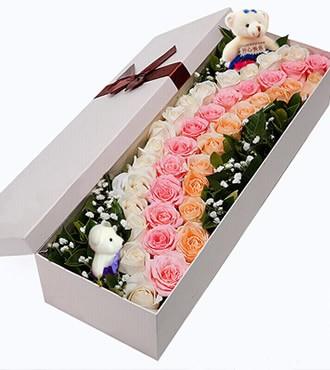 鲜花:鹊桥相会 39枝多色玫瑰