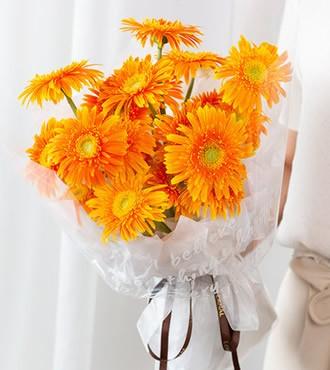 鲜花:前程似锦 18枝橙色