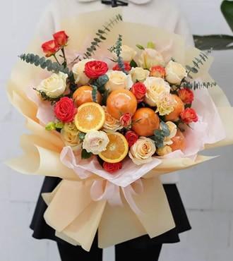 水果花束:诚心诚意 香槟玫瑰 橙子