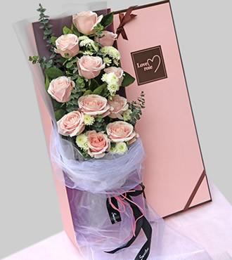 鲜花:遇见你 11枝粉玫瑰
