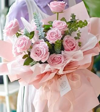 鲜花:你是我的天使 11枝粉玫