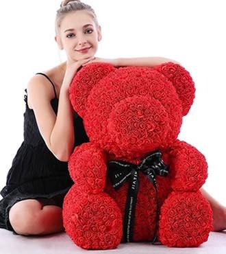 玫瑰花抱抱熊PE玫瑰花熊