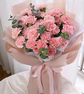 鲜花:爱的表达 29枝粉康乃馨