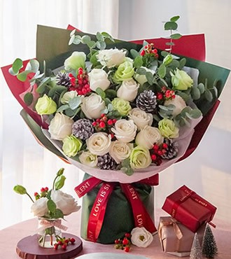 鲜花:圣诞雪 白雪山12枝