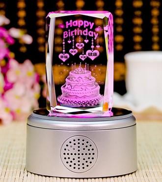 3D水晶内雕 生日蛋糕