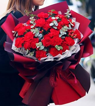 鲜花:感谢给予我的一切 33枝红康乃馨