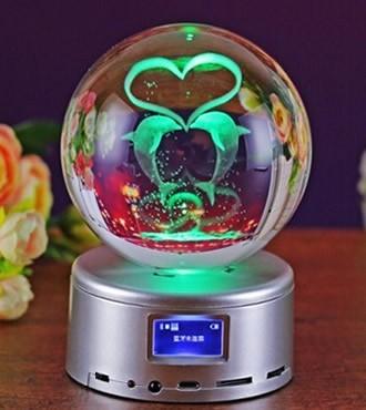 3D水晶内雕 水晶球音乐盒