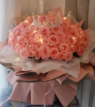 鲜花:嫁给我吧 108枝粉玫瑰