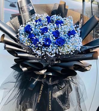 鲜花:动心时刻 11枝蓝玫瑰