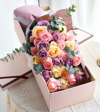 鲜花:遇见幸福 33枝混色