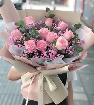 鲜花:爱的告白 10枝粉玫瑰