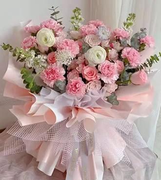 鲜花:语笑嫣然 粉色混搭